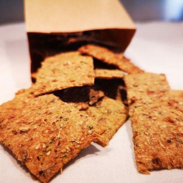 Photo paquet crackers aux drêches de brasserie et herbes de Provence OURO Biscuiterie Circulaire de Touraine