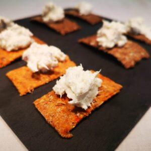 Crackers aux drêches de Brasserie Ouro Biscuiterie Circulaire de Touraine - Rillettes de colin au fromage frais fouetté 2