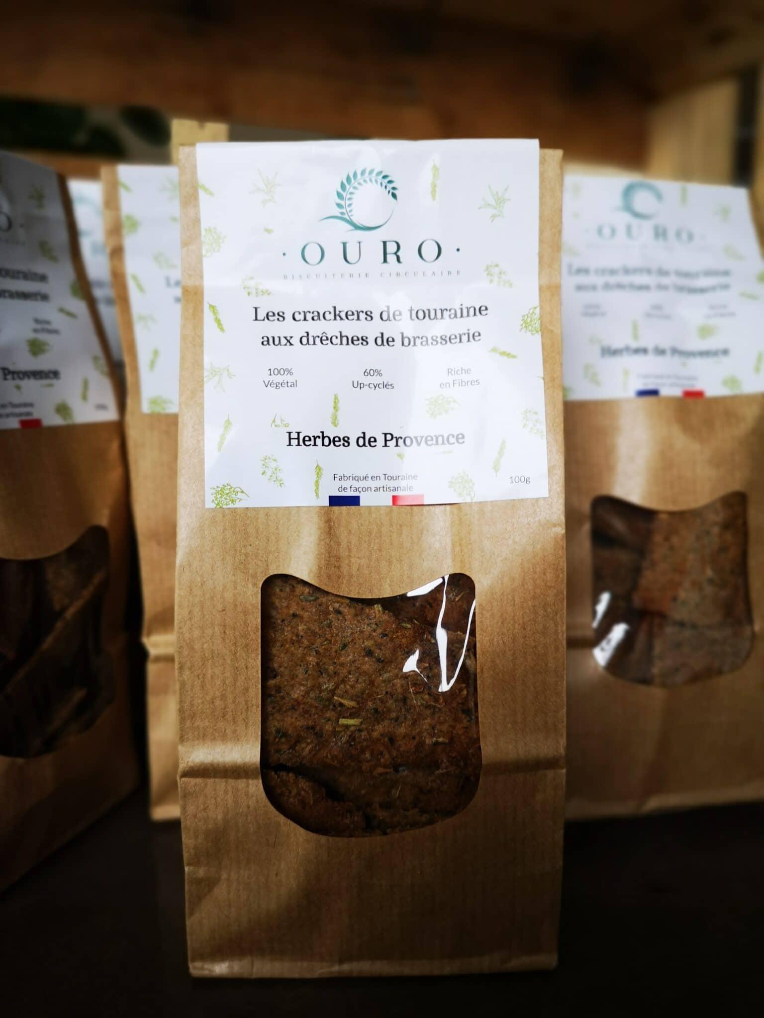Crackers drêches de Brasserie herbes de Provence Biscuiterie OURO biscuiterie circulaire de Touraine