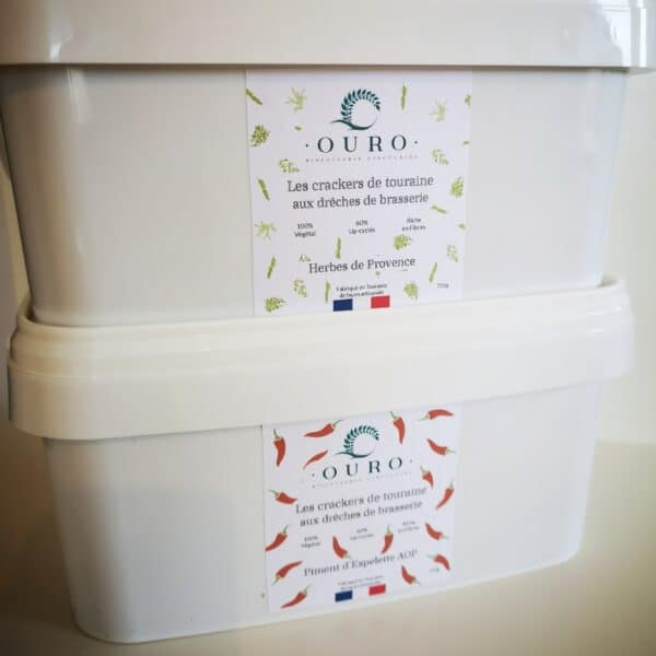 Boites x2 crackers drêches de brasserie Herbes de Provence Piment d'Espelette 750g