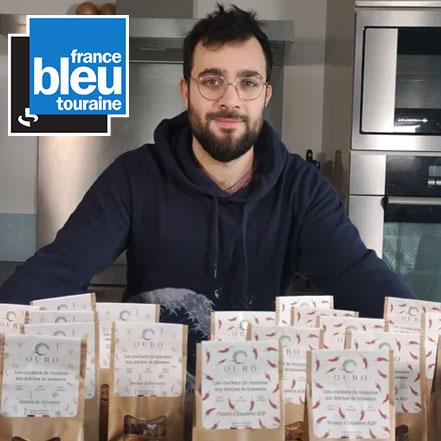 """Article OURO biscuiterie circulaire de Touraine par France Bleu Touraine (émission """"circuits courts"""") crackers aux drêches de brasserie"""